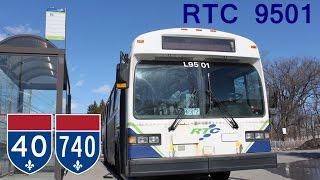 HD Bus - RTC Quebec Novabus Classic 9501 - Highway ride - Autoroute