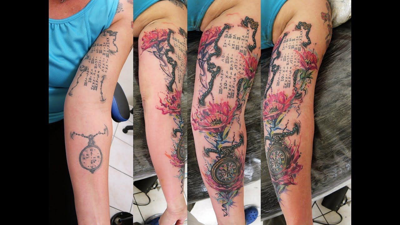 Beautiful Watercolor Flowers And Watch Tattoo Cover Up By Fluntboy