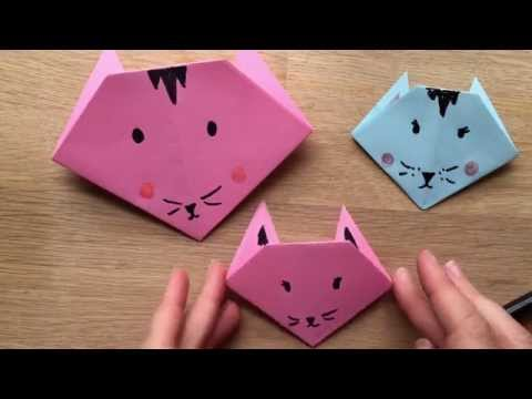 Origami Cat How To - Easy Origami for Kids.