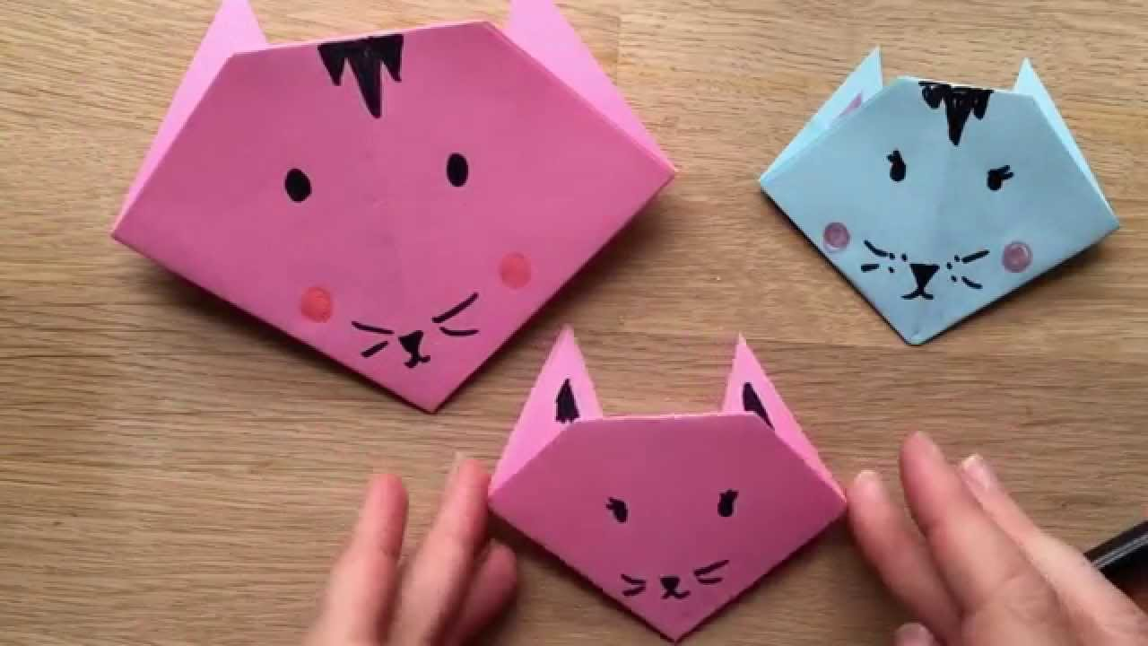 Papercraft Origami Cat How To - Easy Origami for Kids.