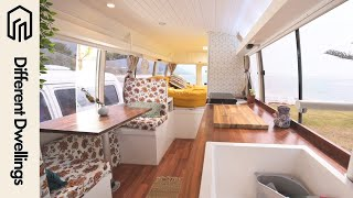 Bus Tour  Couple Converts Toyota Bus Into Gorgeous Tiny Home On Wheels // Different Dwellings Ep01