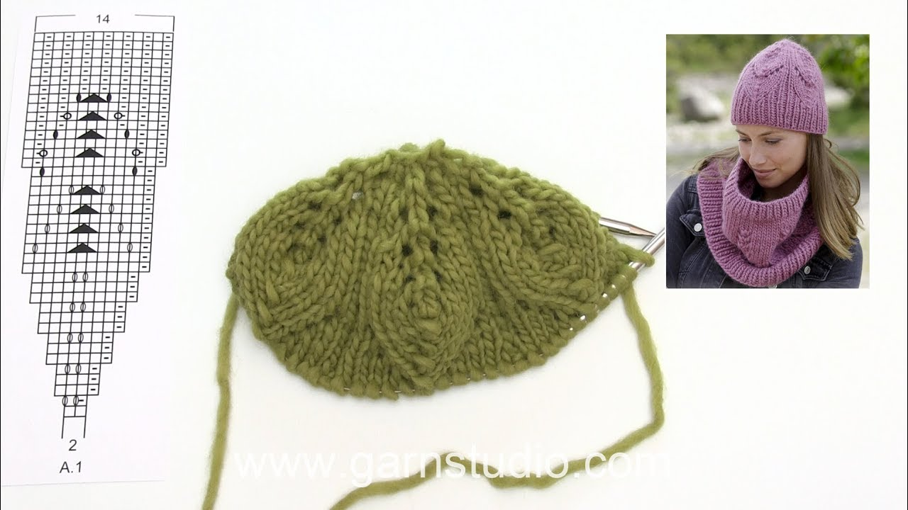 How to knit lace pattern for the hat in DROPS 182-27 - YouTube