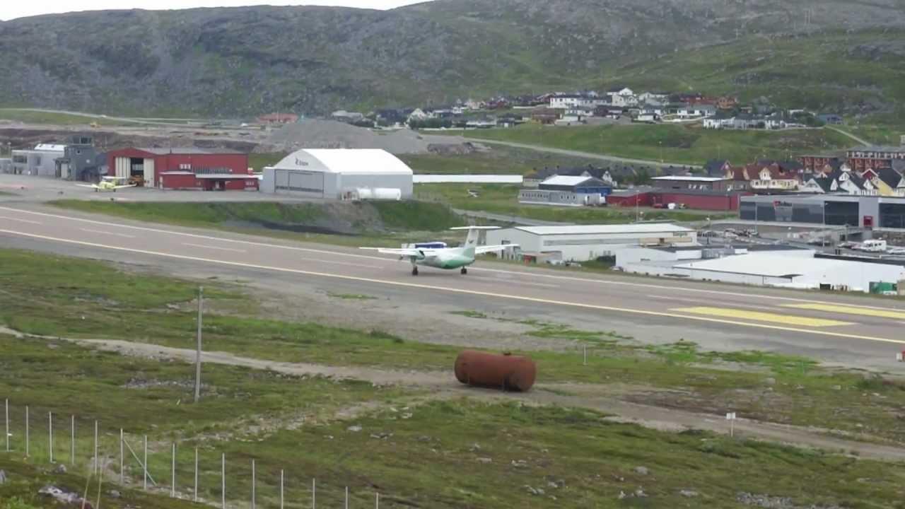 Wideroe Airlines,Landing Hammerfest Airport, Norway, DASH ...