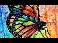Pop Art Rainbow Butterfly Watercolor Painting Time Lapse by Carissa Rose
