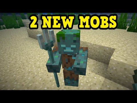 "Minecraft 1.13 - TWO NEW MOBS - ""THE DROWNED"""