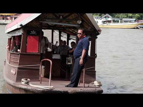 Sathorn Pier Watching the Hotel Boats Chao Phraya River Bangkok
