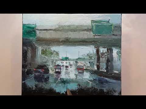 Rainy City Drive - Palette Knife | Brush Oil Painting - Wet Road Freeway  Dusan