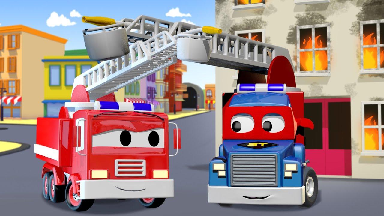 Camion dei pompieri cartoni animati vigile del fuoco stock