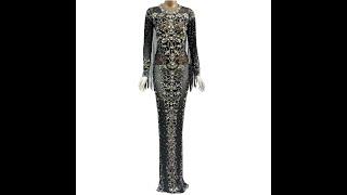 Черное прозрачное длинное платье из сетки с блестящими кристаллами вечерние платья со стразами