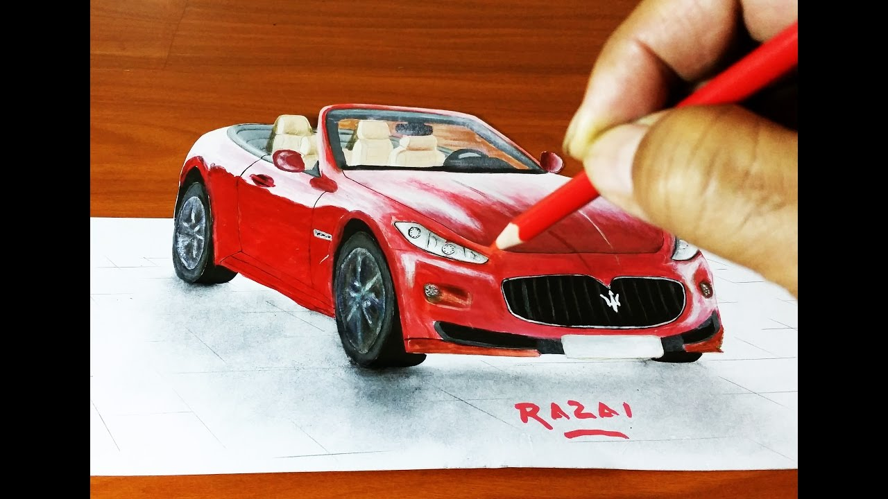 How to draw and paint maserati car trick art 3d illusion - Voiture 3d dwg ...