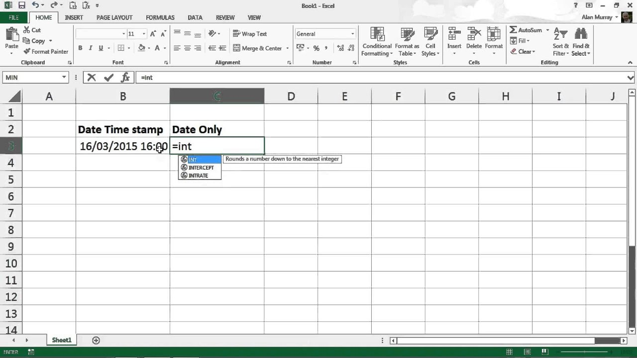 Extract Date from Date and Time Stamp in Excel