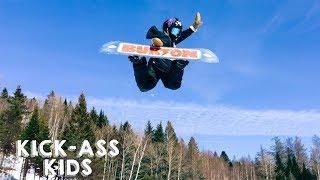 10-Year-Old Snowboarder Lands Dangerous Double Backflip | KICK-ASS KIDS