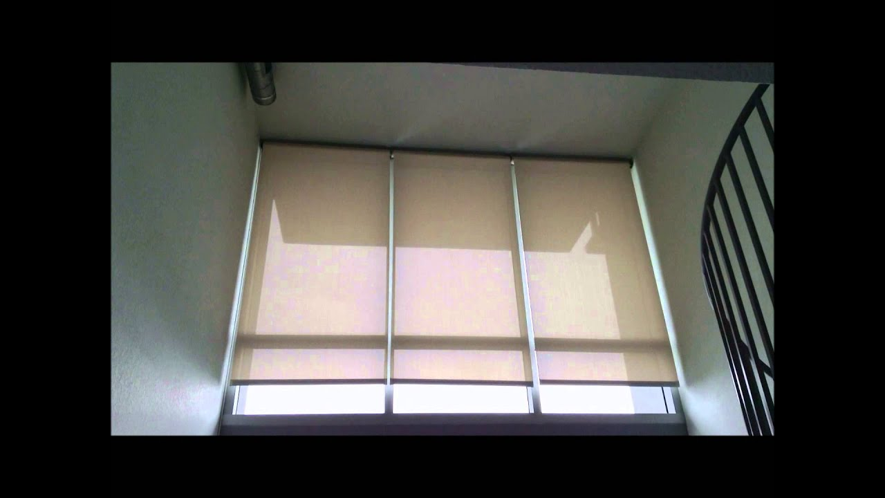 Hunter Douglas Rb500 Motorized Roller Shades In Loft Unit The Vue Youtube