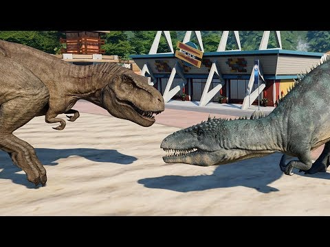 2 T-Rex & 2 Carcharodontosaurus Breakout & Fight! Jurassic World Evolution (4K 60FPS)