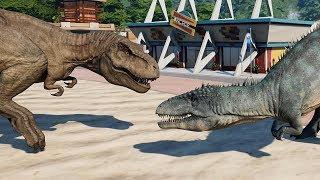 2 T-Rex & 2 Carcharodontosaurus Breakout & Fight! Jurassic World Evolution (4K 60FPS)