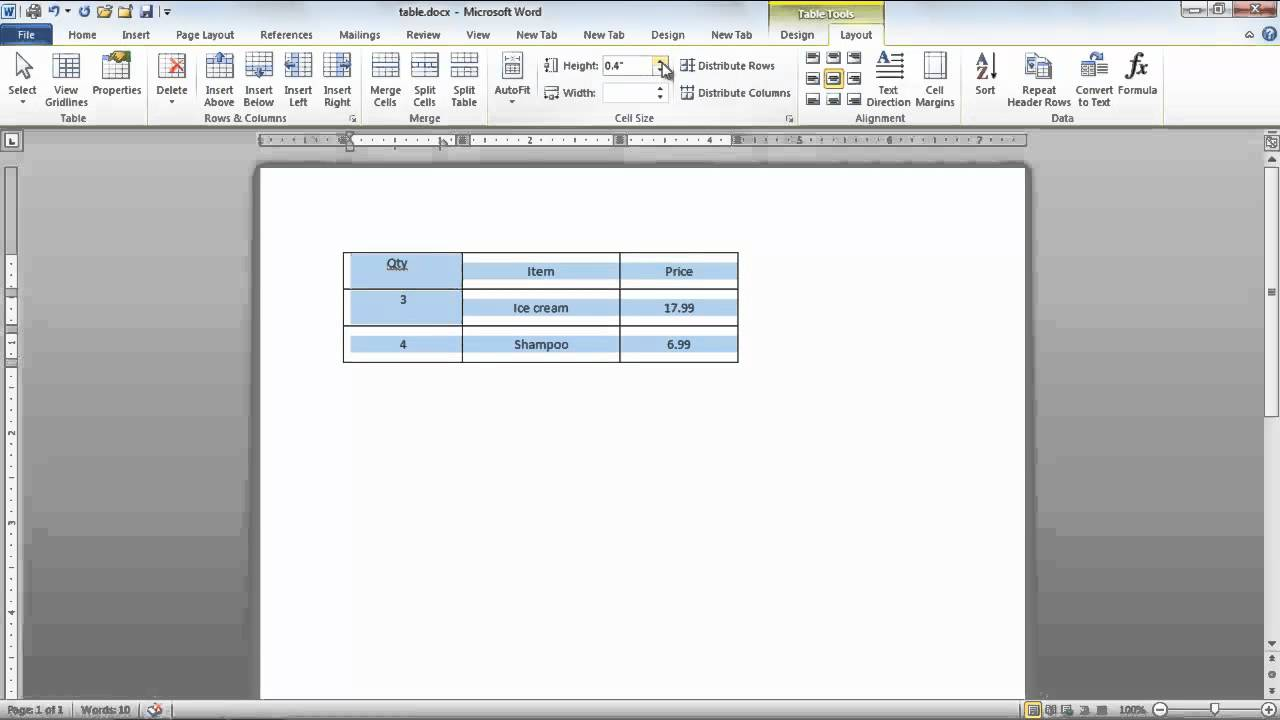 How to modify tables in Microsoft Word 2010 - YouTube