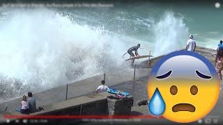 Repeat youtube video Surf Accident in Biarritz - Surfeurs piégés à la Côte des Basques