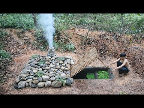 Building The Most Secret Underground Stone House By Ancient Skill