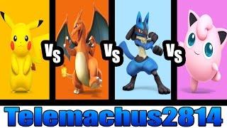 Super Smash Bros. for Wii U Request #5: Pikachu Vs Charizard Vs Lucario Vs Jigglypuff