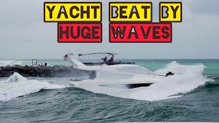 YACHT HIT BY HUGE WAVES VERY ROUGH/Haulover Inlet