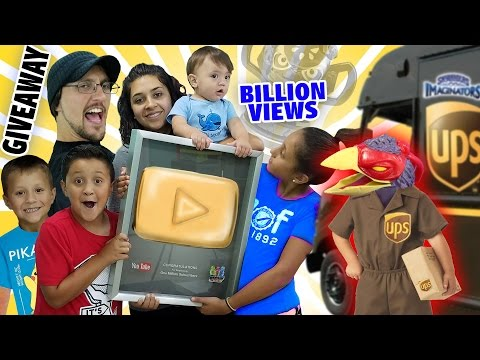 Gold Play Button Giveaway Billion Views Trophy Skylander Boy And Girl Special Delivery