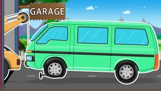 Mini Van | Car Garage | Car Repair Cartoon Video For Kids