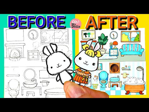🏡DIY DOLLHOUSE PAPER QUIET BOOK DECORATE HOUSE  HOW TO DRAW A BEDROOM