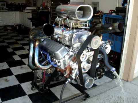 Blown 454 w/ B&M 420 Megablower running on engine stand ...