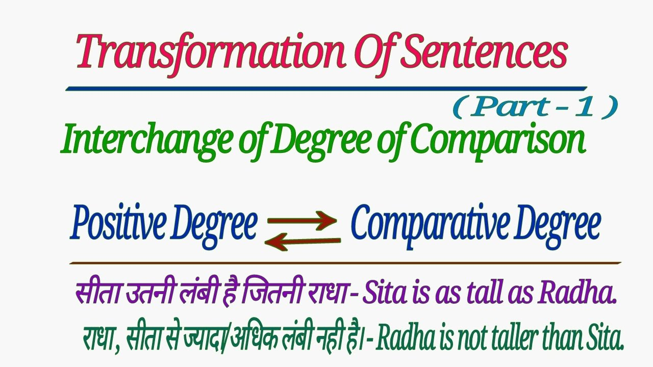 Transformation Of Sentences Interchange Of Degree Of Comparison In