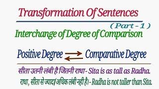 TRANSFORMATION OF SENTENCES   INTERCHANGE OF DEGREE OF COMPARISON IN HINDI
