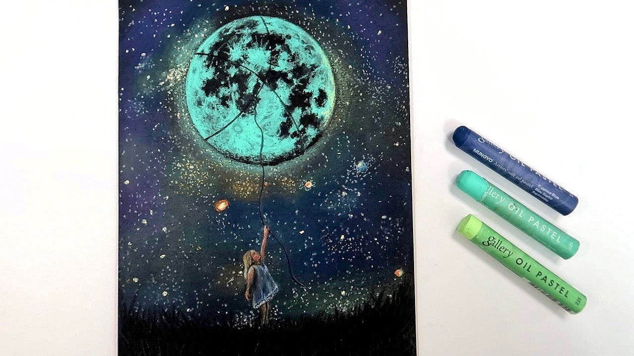 The girl who picks the moon 달을 따는 소녀 / 오일파스텔화 / Oil pastel Drawing