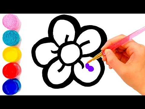 flower-drawing-and-coloring-pages-for-kids- -learn-colors-for-toddlers