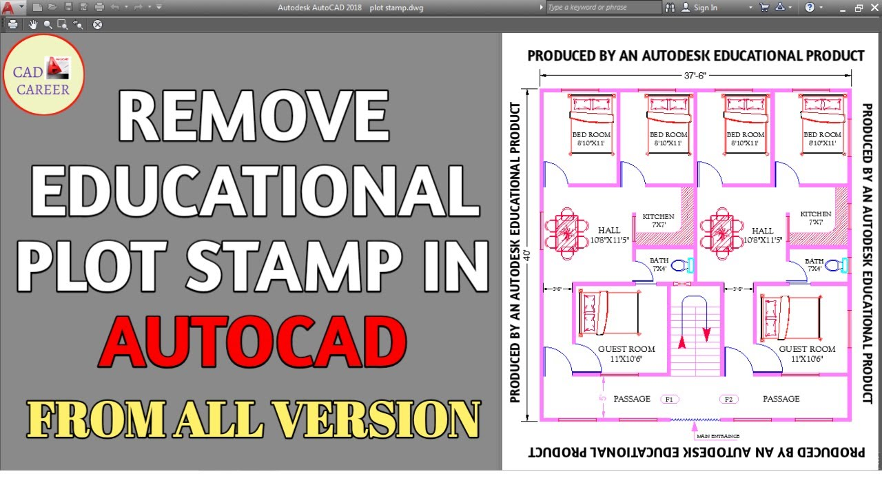 How to remove Educational Plot Stamp Produced by an Autodesk Educational Product | CAD CAREER