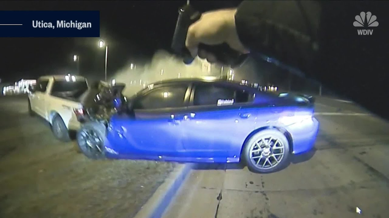 Dashcam and body camera footage show a high-speed police chase end in terrifying crash