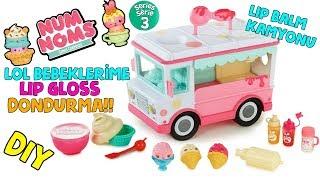 NUM NOMS Kamyon Seti ile LOL Sürpriz Bebeklere Lip Gloss Dondurma Yaptık DIY Bidünya Oyuncak