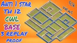 TH 12 unbeatable anti 1 star war base (( 3 CWL attack replay) ( KGF villain character war base))