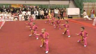 Дети выполняют движения ушу Показательные выступления в Гонконге