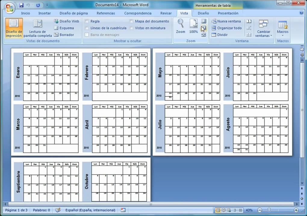 Como Hacer Calendario En Word.Tutorial Calendarios 2010