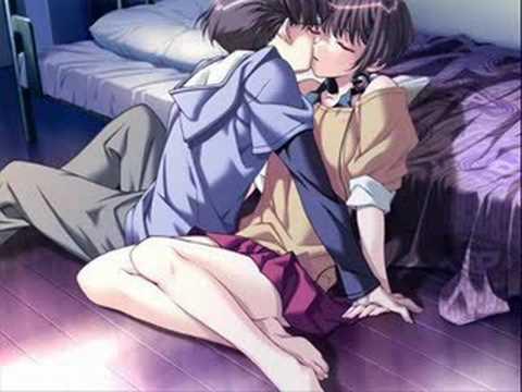 Anime love scenes kiss in bed