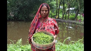 Village Food | Dheki shak chingri mach recipe | Grandmother recipes-116