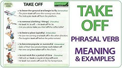 TAKE OFF - Phrasal Verb Meaning & Examples in English
