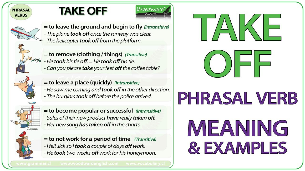 TAKE OFF - Phrasal Verb Meaning & Examples in English - YouTube