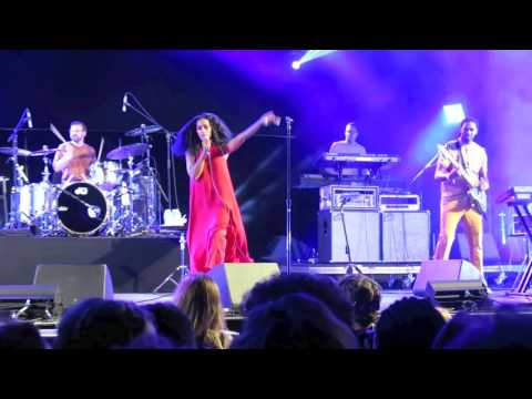 Solange whips off her bra and does some funky dance moves at DAY 2 of FYF Festival
