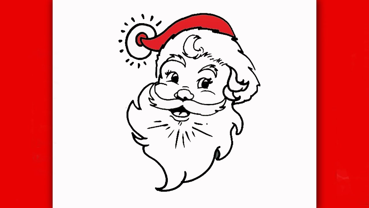 how to draw santa claus face step by step for kids easy