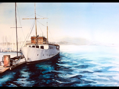 Watercolor Boat at the Marina Painting Demonstration