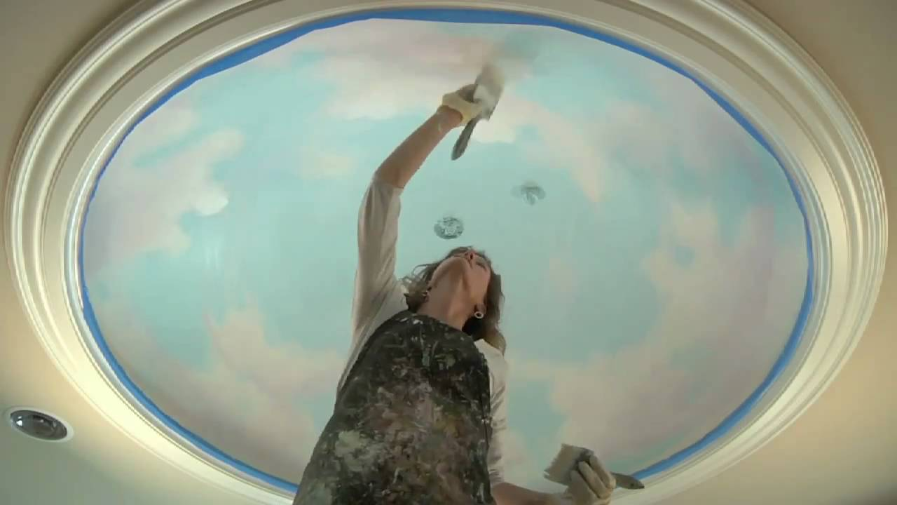 Mural tutorial how to paint clouds on the ceiling youtube for Ceiling cloud mural