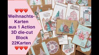 Weihnachtskarten aus 1 Action 3D die-cut Block Paper Block Karten Inspiration Craft Update