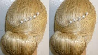 Лёгкая причёска на выпускной, вечерняя, свадебная причёска на средние/длинные волосы.Пучок из волос