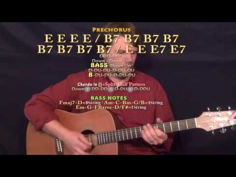 One Night (Elvis) Guitar Lesson Chord Chart in E - E A B7 F#