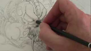 Drawing a Skull (Biomechanical Piece) by DML